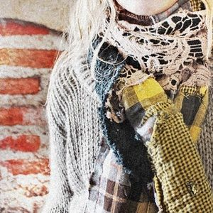 upcycled ragged crochet scarf